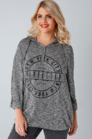 Day Tops Charcoal New York Slogan Popper Hooded Top With Bubble Hem 103134