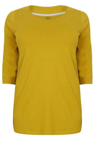Chartreuse Band Scoop Neckline T-shirt With 3/4 Sleeves