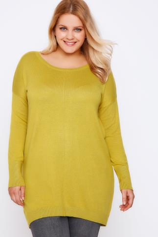 Chartreuse Yellow Longline Knitted Jumper With Seam Front Detail