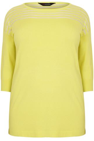 Chartreuse Green Jumper With Sheer Striped Yoke