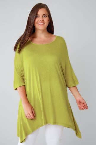 Chartreuse Green Oversized Soft Textured Jersey Top With Grown On Sleeves 134122