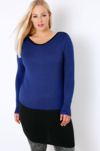 Jumpers Cobalt Blue & Black Colour Block Longline Jumper With Silver Shoulder Zips 102714