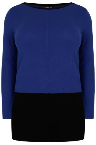 Cobalt Blue & Black Colour Block Longline Jumper With Silver Shoulder Zips