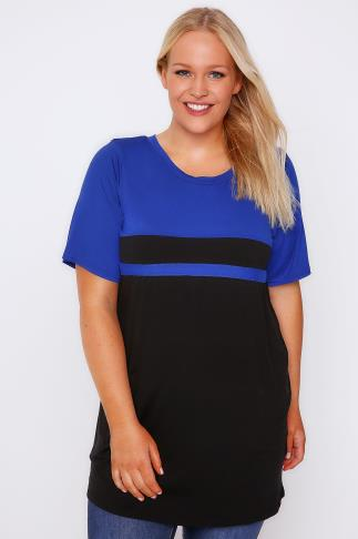 Cobalt Blue & Black Colour Block Short Sleeve T-Shirt 103107