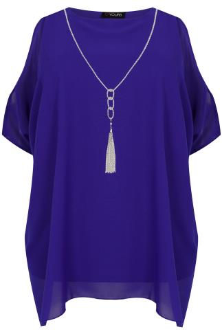 Cobalt Blue Cold Shoulder Chiffon Top With Batwing Sleeves and Free necklace 130007