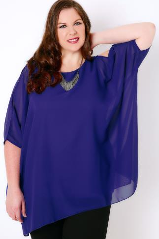 Cobalt Blue Cold Shoulder Chiffon Top With Batwing Sleeves