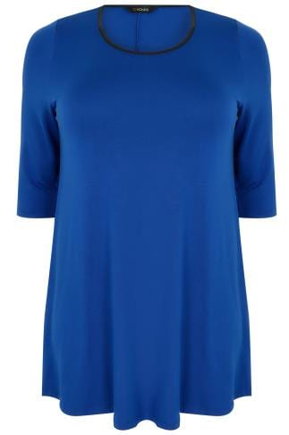Cobalt Blue Longline Jersey Swing Top With PU Trim & Half Sleeves