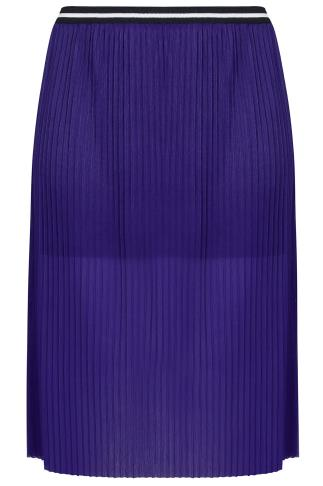 LIMITED COLLECTION Cobalt Blue Pleated Overlay Skirt With Stripe Waistband