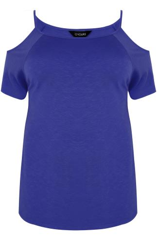 Cobalt Blue Strappy Cold Shoulder Jersey Top