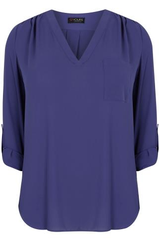 Cobalt Blue V-Neck Blouse With Roll Up Sleeves & Pocket Detail