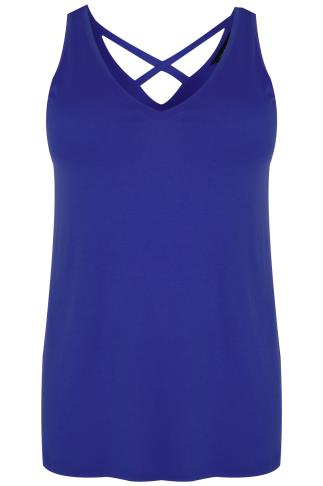 Cobalt Blue V-Neck Vest Top With Cross Back Detail