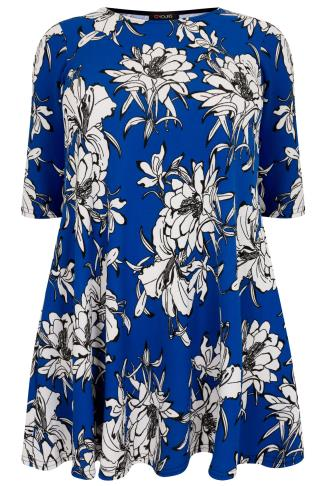 Cobalt Blue & White Tropical Floral Textured Swing Dress With Half Sleeves