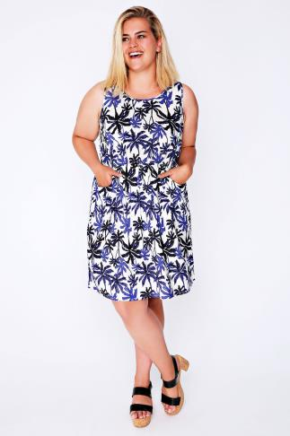 Cobalt & Ivory Palm Print Sleeveless Dress With Pockets 101870