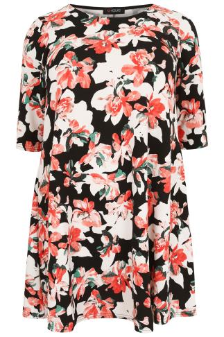 Coral And Black Floral Textured Swing Dress With Half Sleeves 053324