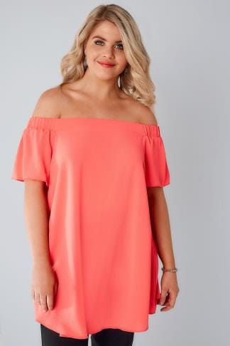 Bardot & Cold Shoulder Tops Coral Bardot Swing Top With Elasticated Shoulders 130074
