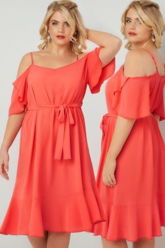 Soiree Coral Cold Shoulder Swing Dress With Frill Hem 136102