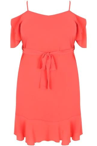 Coral Cold Shoulder Swing Dress With Frill Hem