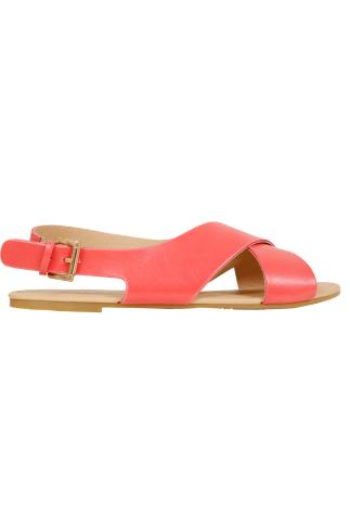 Wide Fit Sandals Coral Cross Over Flat Sling Back Sandals With Gold Buckle In EEE Fit 056463