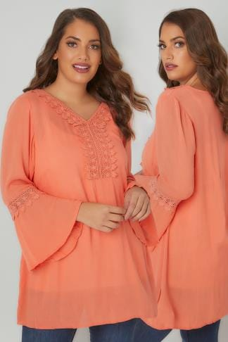 Blouses & Shirts Coral Flute Sleeve Longline Blouse With Crochet Detail 156227
