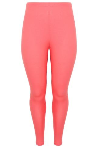 Coral Viscose Elastane Leggings With Elasticated Waist