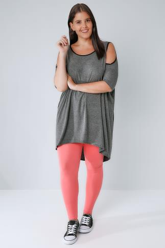 Coral Viscose Elastane Leggings 142054