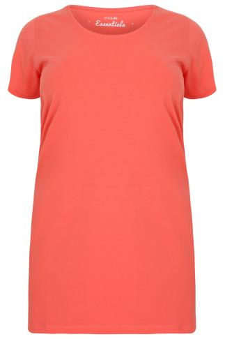 Coral Longline T-Shirt With Scooped Neck