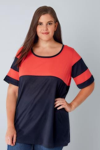 Day Tops Coral & Navy Colour Block Baseball T-Shirt 132076