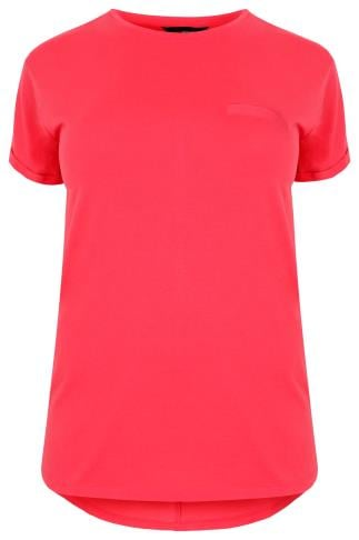 Coral Pocket T-Shirt With Curved Hem