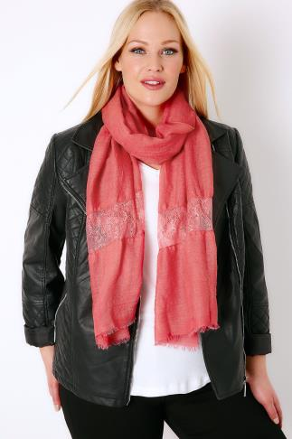 Scarves Coral Scarf With Lace Insert 057258