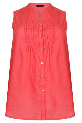 Coral Sleeveless Blouse With Pintuck Detail
