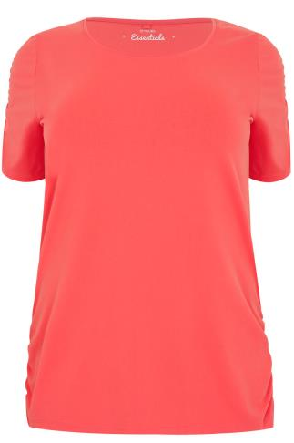 Coral T-Shirt With Ruched Short Sleeves