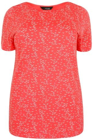 Coral & White Bird Print Boat Neck Top