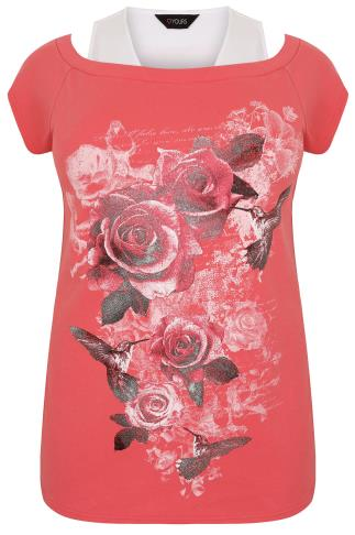 Coral & White Sparkle Rose Print 2 In 1 Bardot Top