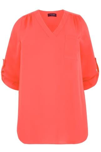 YOURS LONDON Coral Woven V-Neck Blouse With Pocket