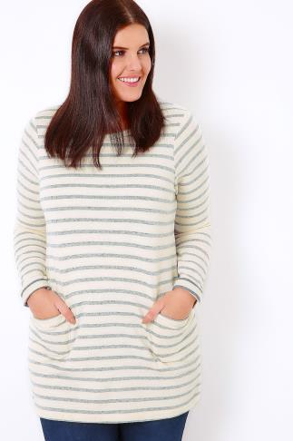 Cream & Blue Stripe Pocket Front Tunic Jumper