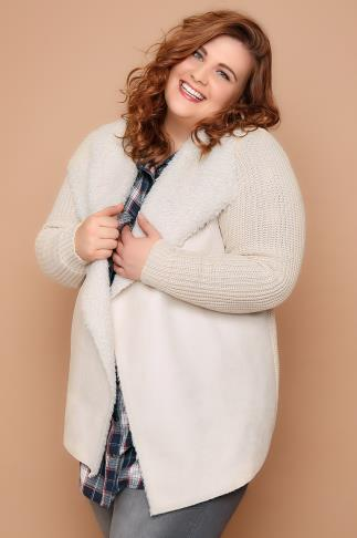 Cream Chunky Knit Cardigan With Shearling Collar