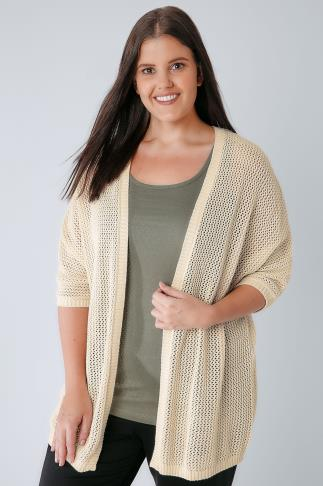 Cardigans Cream Chunky Knit Cocoon Cardigan With Short Sleeves 124026