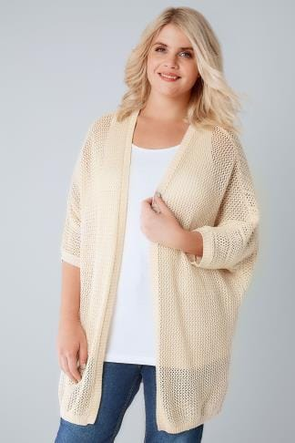 Cardigans Cream Open Knit Cocoon Cardigan With Half Sleeves 124026