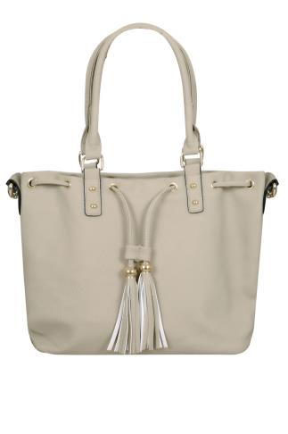 Bags & Purses Cream Drawstring Shoulder Bag With Tassels 152212