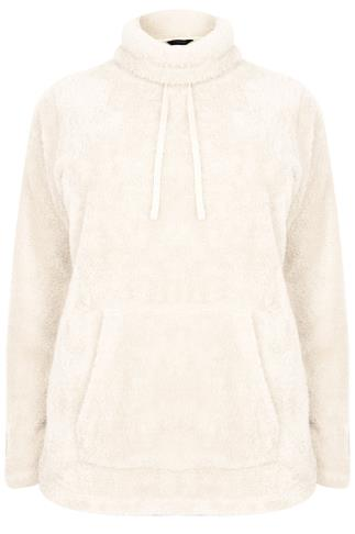 Cream Fluffy High Neck Fleece