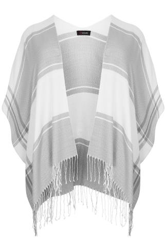 Cream & Grey Colour Block Wrap