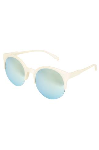 Cream Half Frame Mirror Sunglasses With UV 400 Protection 152245