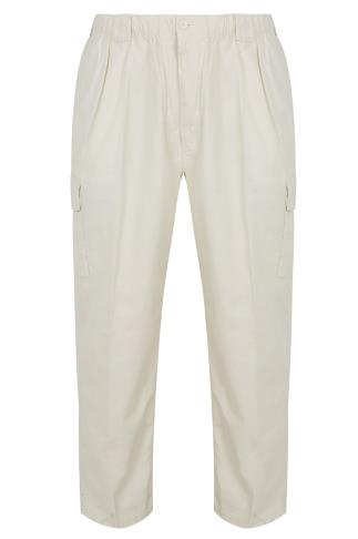 Cream Linen Trousers With Elasticated Waist