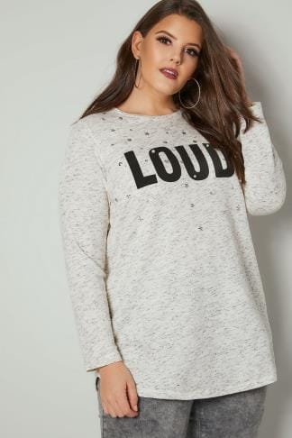 Sweatshirts Cream 'Loud' Slogan Sweat Top With Faux Pearl Embellishment 126086