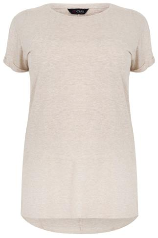 Cream Marl Pocket Detail T-Shirt With Dipped Hem