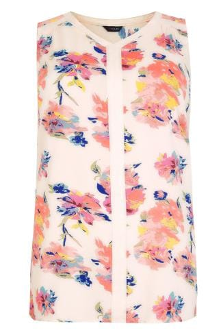 Day Cream & Pink Floral Print Sleeveless Top With Contrast Trim 130108