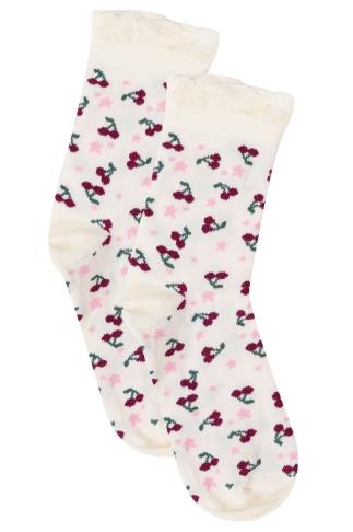 Socks Cream & Red Cherry Print Wide Fit Socks 101523