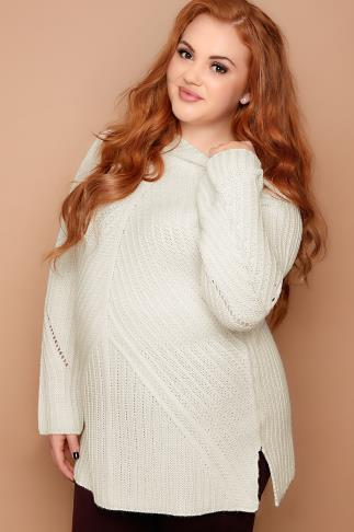 Cream Ribbed Funnel Neck Jumper