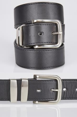 D555 Black Kingsize Leather Belt With Silver Buckle