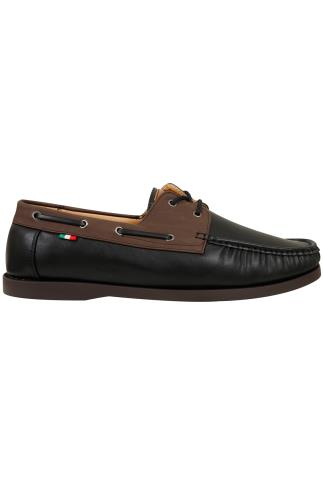 Shoes D555 Black Lace Up Boat Shoe With Brown Trim 110437